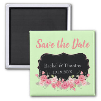 Beautiful Save the Date Wedding Pink and Green Magnet