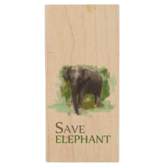 Beautiful Save the Elephant Slogan and Pic on Wood Wood USB 2.0 Flash Drive