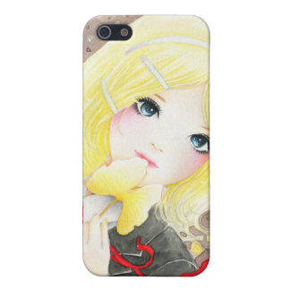 Beautiful schoolgirl with red ribbon cover for iPhone 5/5S