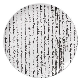 Beautiful script from 1776 draft by Jefferson Plates