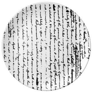 Beautiful script from 1776 draft by Jefferson Porcelain Plate