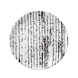 Beautiful script from 1776 draft by Jefferson Porcelain Plates