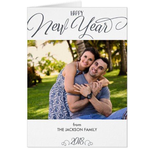 Beautiful Script Happy New Year Custom Photo Card