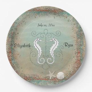 Beautiful Sea Horses, Beach Wedding, Seashells Paper Plate