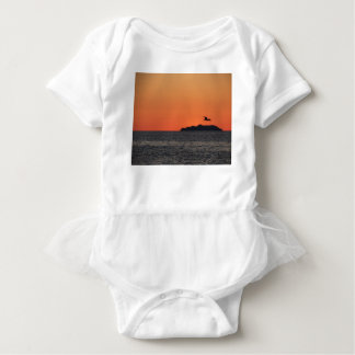 Beautiful sea sunset with island silhouette baby bodysuit