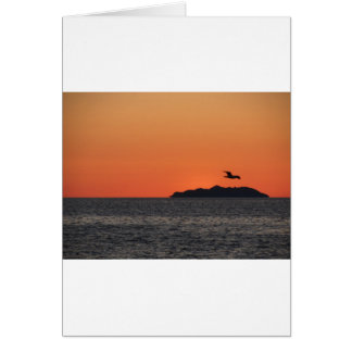 Beautiful sea sunset with island silhouette card