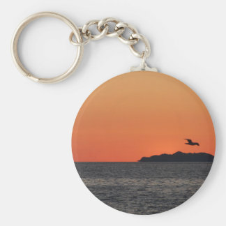 Beautiful sea sunset with island silhouette keychain