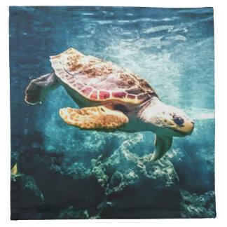 Beautiful Sea Turtle Ocean Underwater Image Cloth Napkin