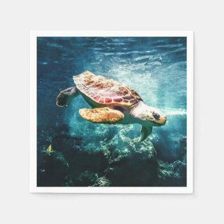 Beautiful Sea Turtle Ocean Underwater Image Disposable Napkins