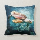 Beautiful Sea Turtle Ocean Underwater Image Throw Pillow