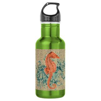 Beautiful seahorse design on burlap background