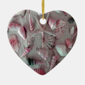 Beautiful Seashells Ceramic Heart Ornament