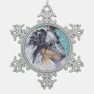Beautiful Sheltie Shetland Sheepdog Fine Art Snowflake Pewter Christmas Ornament