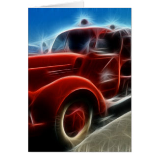 Beautiful Shiny Antique Red Fire Truck Art Card