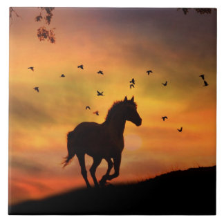 Beautiful Sihouetted Horse in the Sunrise Tile