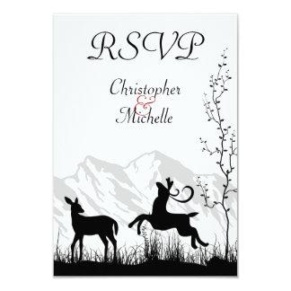 "Beautiful Silhouette Deer Mountain Wedding RSVP 3.5"" X 5"" Invitation Card"