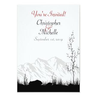 "Beautiful Silhouette Mountain Black, White Wedding 5"" X 7"" Invitation Card"