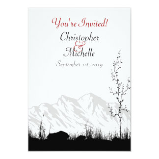 "Beautiful Silhouette Mountain Wedding Invitation 5"" X 7"" Invitation Card"