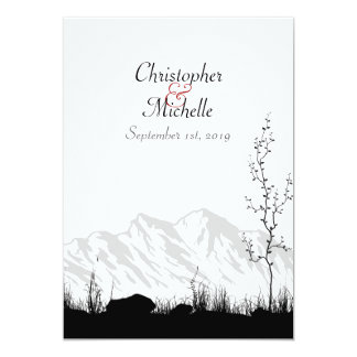 Beautiful Silhouette Mountain Wedding Invitation