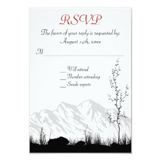 "Beautiful Silhouette Mountain Wedding RSVP Cards 3.5"" X 5"" Invitation Card"