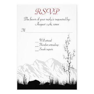 Beautiful Silhouette Mountain Wedding RSVP Cards