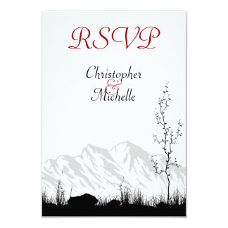 "Beautiful Silhouette Mountain Wedding RSVP Cards 3.5"" X 5"" Invitation Card"