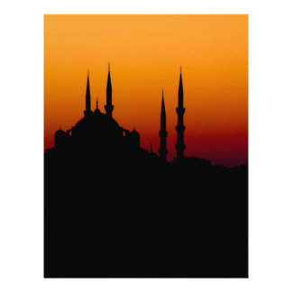 Beautiful silhouette of a mosque at sunset personalized letterhead