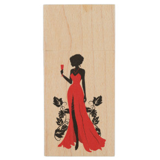 Beautiful silhouette of young woman with wineglass wood USB flash drive