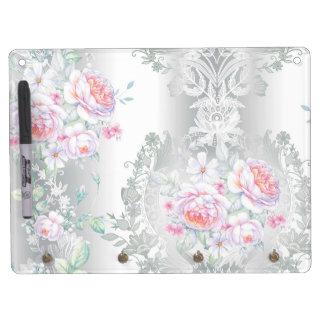 beautiful, silk,damask,pink,roses,vintage,wedding, dry erase board with keychain holder