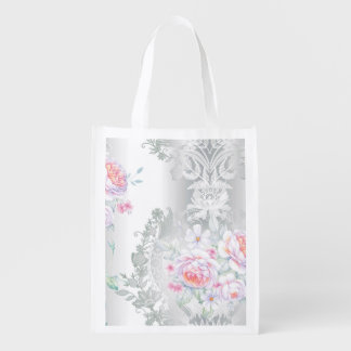 beautiful, silk,damask,pink,roses,vintage,wedding, reusable grocery bag