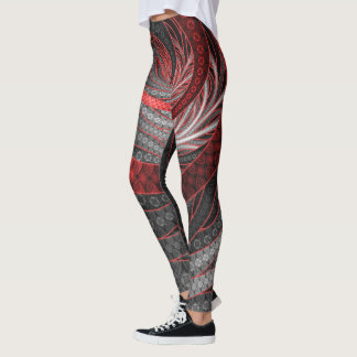 Beautiful Silver and Red Fractal Vampire Scales Leggings