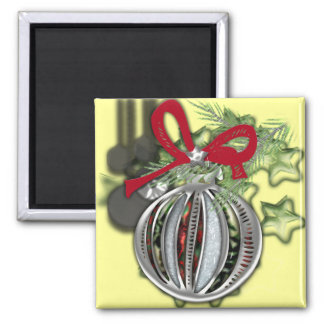 Beautiful silver Christmas tree ornament Square Magnet