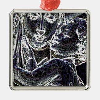 Beautiful Silver-Colored Square Ornament