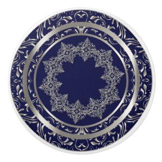 Beautiful Silver Design on Navy Blue Ceramic Knob