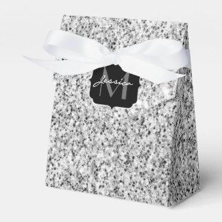 Beautiful Silver glitter sparkles Monogram Favor Box