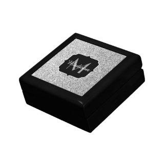 Beautiful Silver glitter sparkles Monogram Jewelry Box