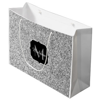 Beautiful Silver glitter sparkles Monogram Large Gift Bag