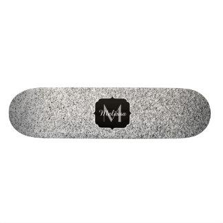 Beautiful Silver glitter sparkles Monogram Skate Deck