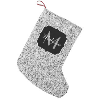 Beautiful Silver glitter sparkles Monogram Small Christmas Stocking