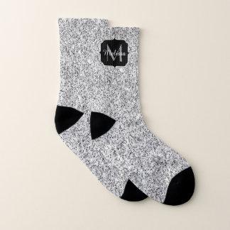 Beautiful Silver glitter sparkles Monogram Socks
