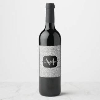 Beautiful Silver glitter sparkles Monogram Wine Label