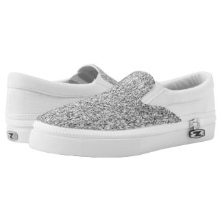 Beautiful Silver glitter sparkles Slip-On Sneakers