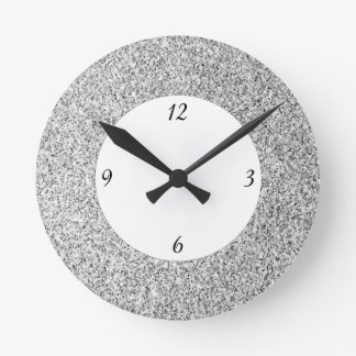 Beautiful Silver glitter sparkles with numbers Round Clock