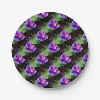 Beautiful Single Morning Glory Flower and Leaf 7 Inch Paper Plate