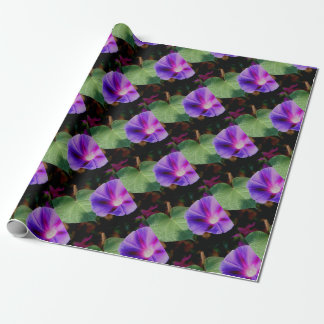 Beautiful Single Morning Glory Flower and Leaf Wrapping Paper