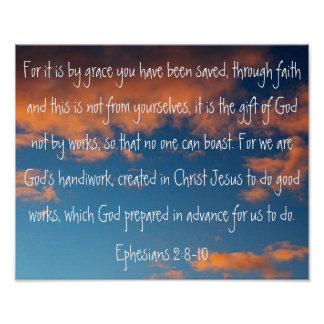 beautiful sky bible verse Ephesians 2:8-10 Poster