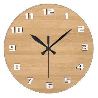 Beautiful Sleek Clean Modern Light wood Texture Large Clock