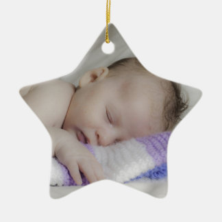 Beautiful Sleeping Newborn Baby Ceramic Star Ornament