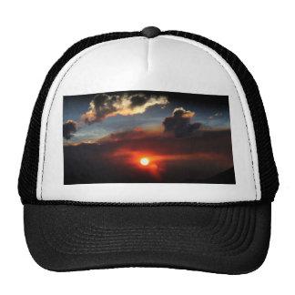 beautiful smokey sunset photo sun fire trucker hat