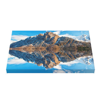 Beautiful Snow capped Mountains Ocean Poster Canvas Print